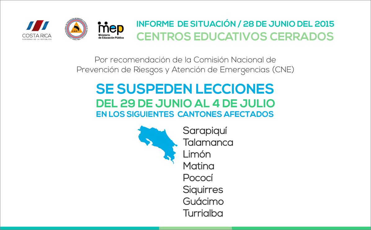 INFOGRAFIA SUSPENSION DE LECCIONES EN CANTONES AFECTADOS 28Junio15